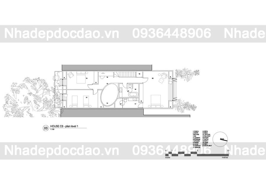 Thiết kế nhà phố độc đáo với giếng trời hình oval