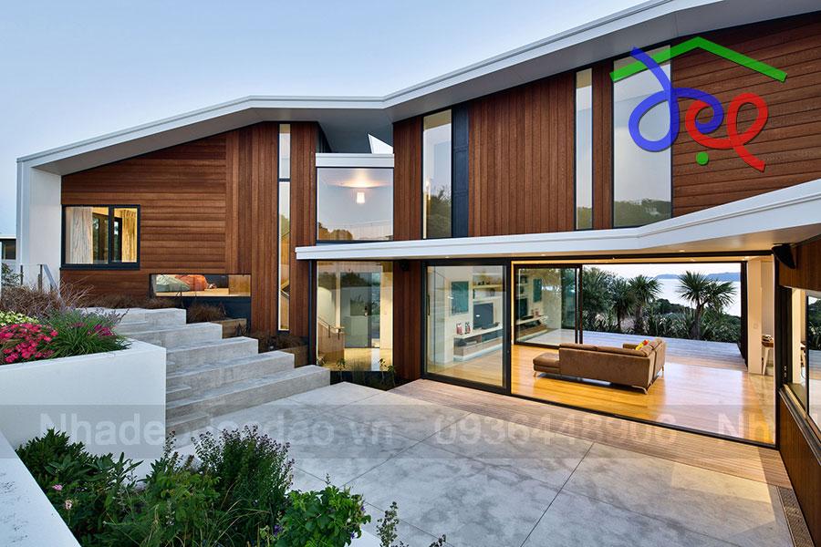 Thiết kế nhà nghỉ trên triền đồi ở New Zealand