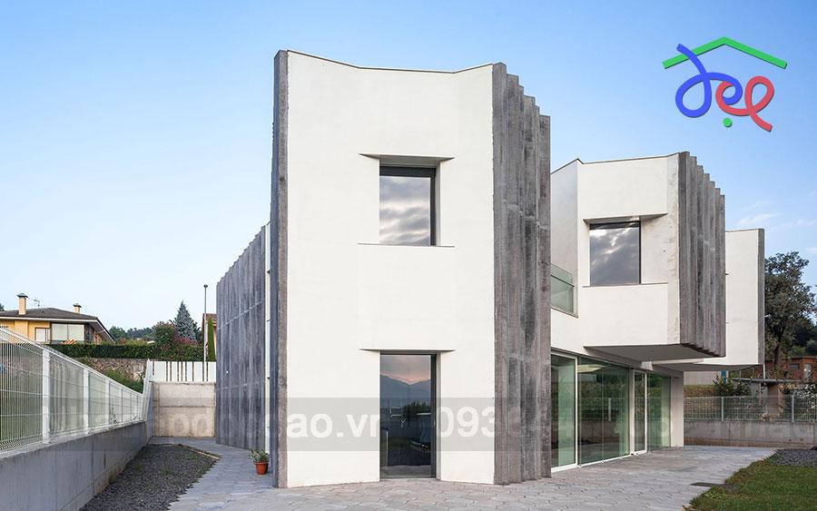 Thiết kế nhà phố 2 tầng hình khối đá Bazan