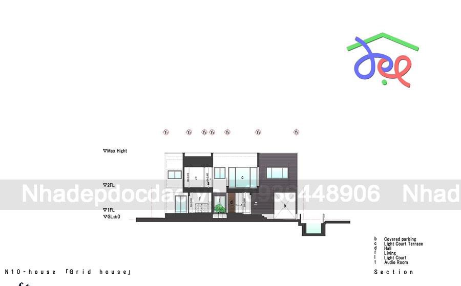 Thiết kế nhà phố 2 tầng với giếng trời thông thoáng
