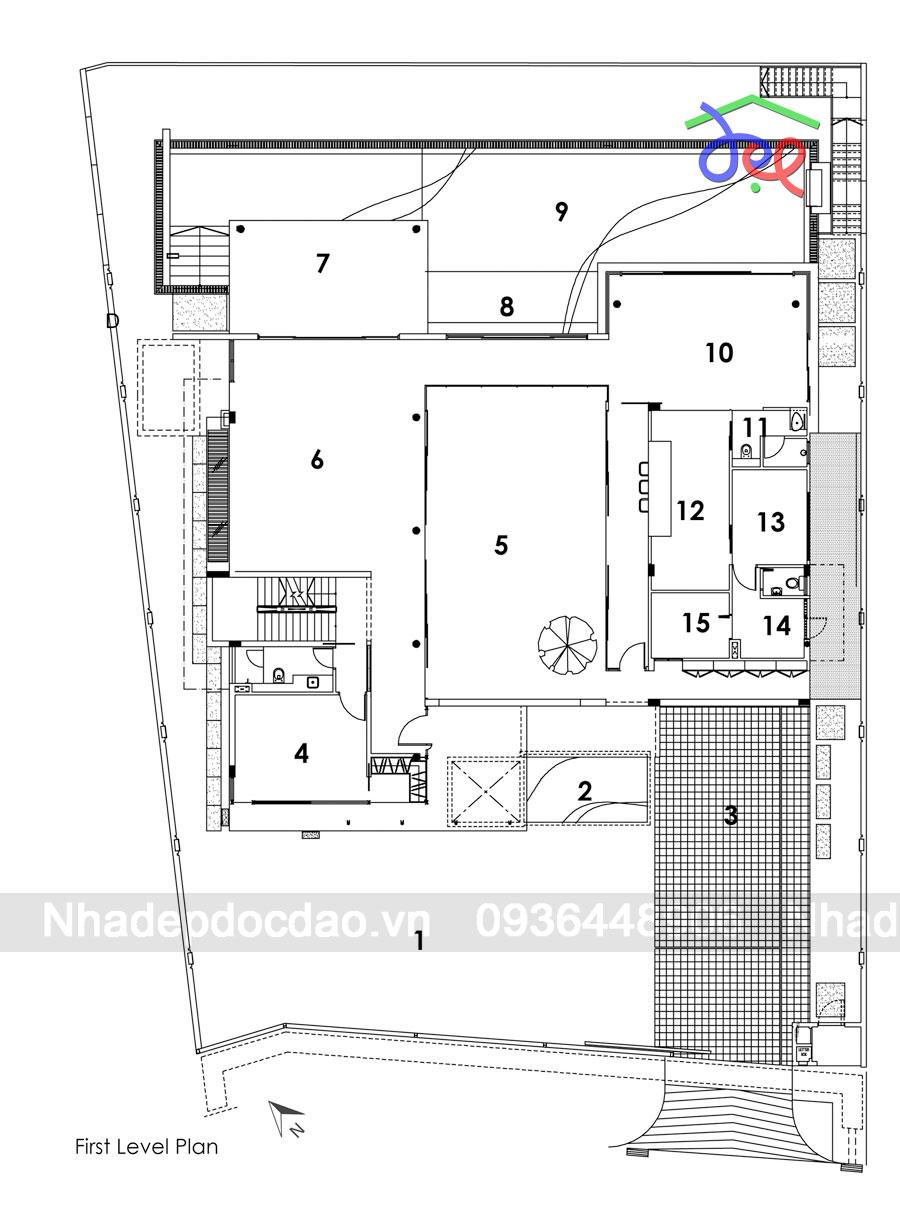 Thiết kế nhà phố 3 tầng diện tích 749m2