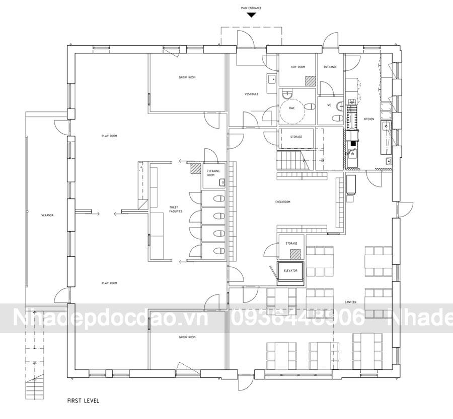 Thiết kế trường mầm non 2 tầng bằng kỹ thuật lắp ghép các khối tạo sẵn