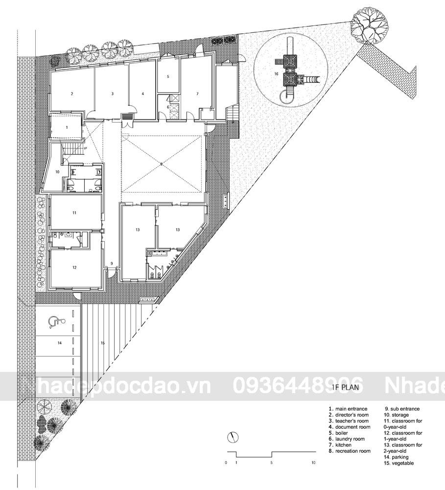 Mặt bằng tầng 1 - Thiết kế trường mầm non 2 tầng ở Hangdong