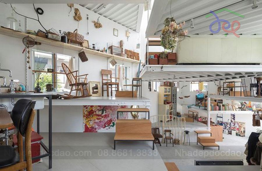Thiết kế nhà phố không phòng, không vách ngăn tại Nhật Bản