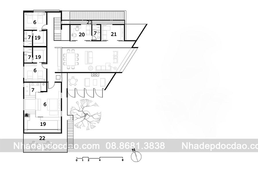 Thiết kế biệt thự 1 tầng diện tích 540m2 phong cách hiện đại