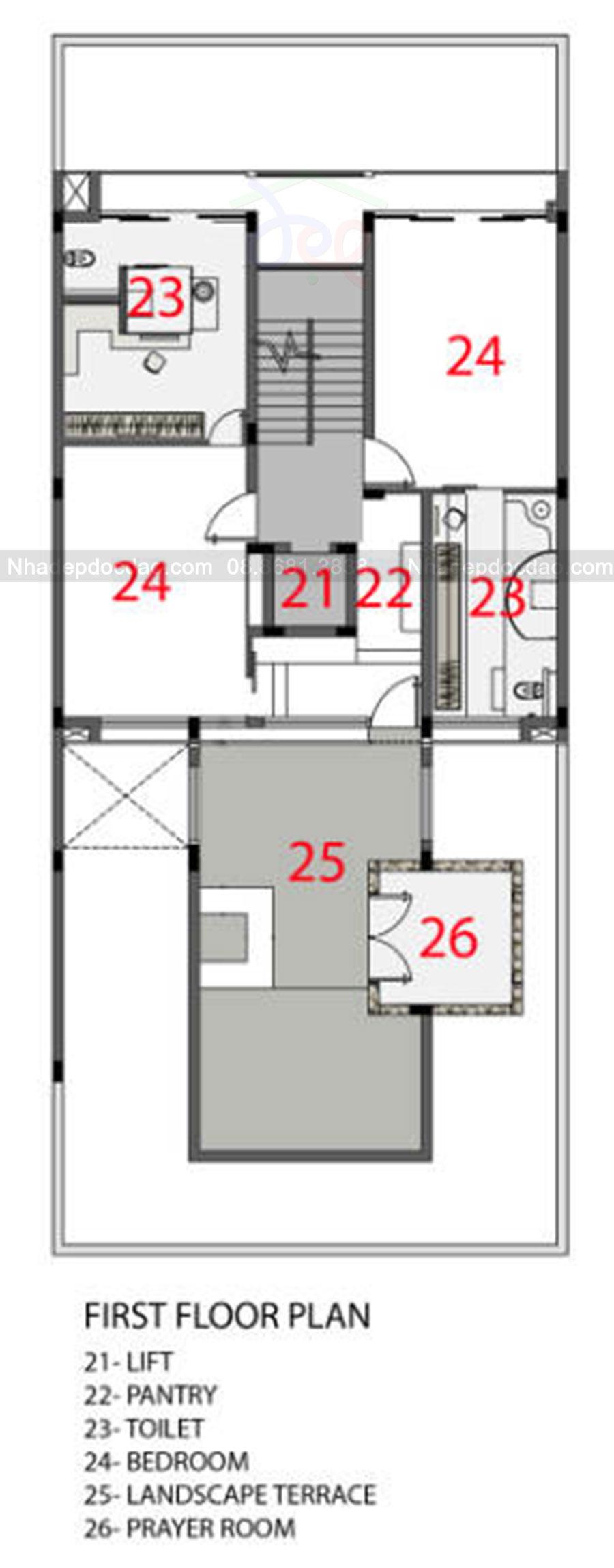 Thiết kế nhà phố 5,5 tầng phong cách hiện đại trên diện tích 190m2